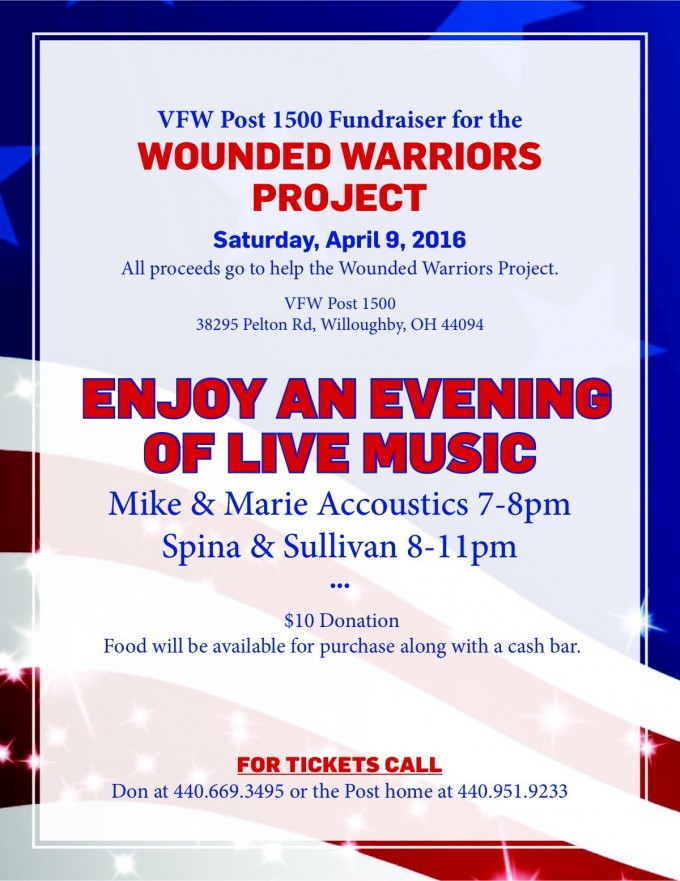 Wounded Warriors benefit April 9